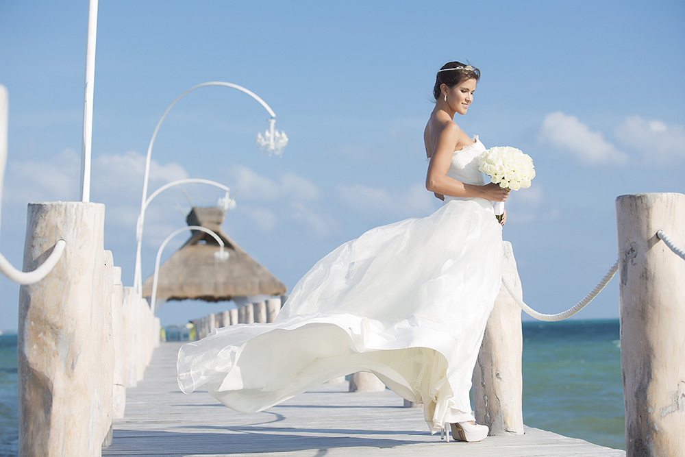 A beach wedding at a five star hotel