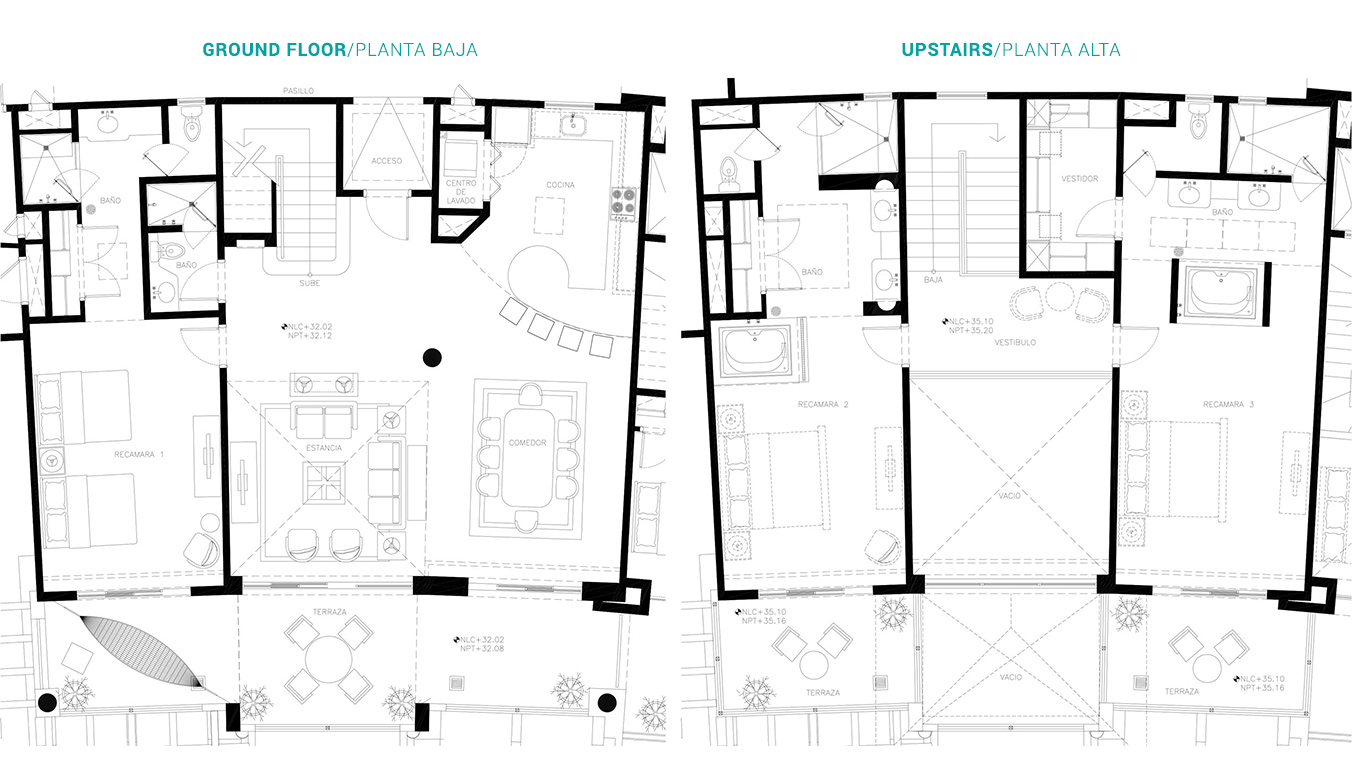 Floor Plan 3 Bedroom Loft Villa del Palmar Cancun