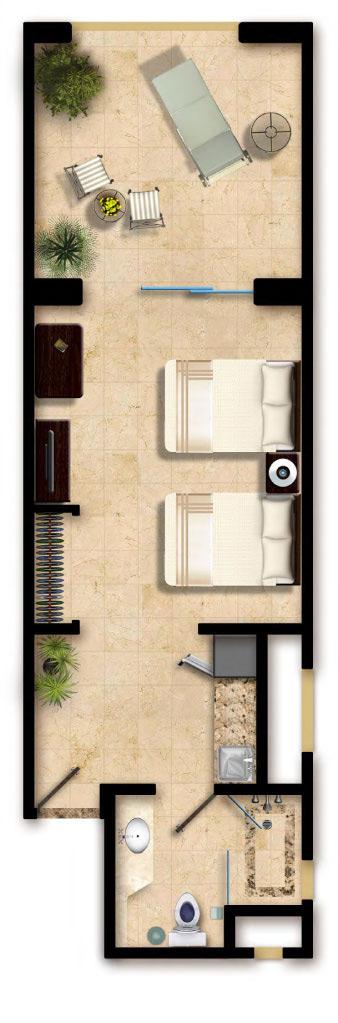 Floor Plan Deluxe Studio Villa del Palmar Cancun