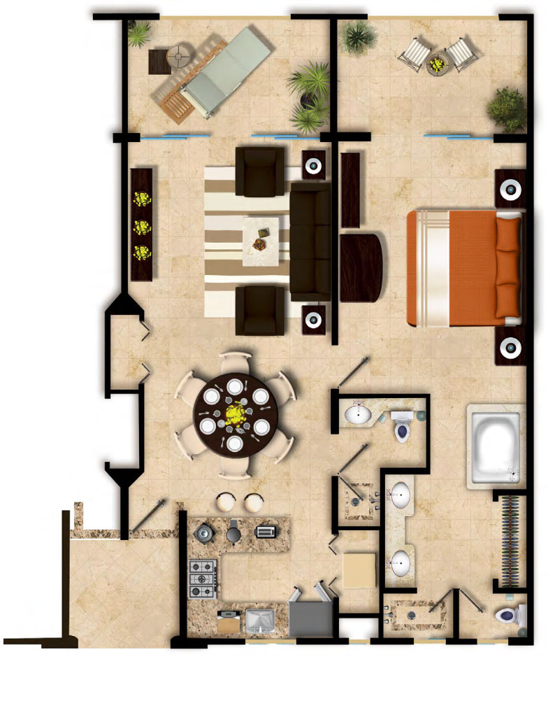 Floor Plan Master Suite One Bedroom Villa del Palmar Cancun