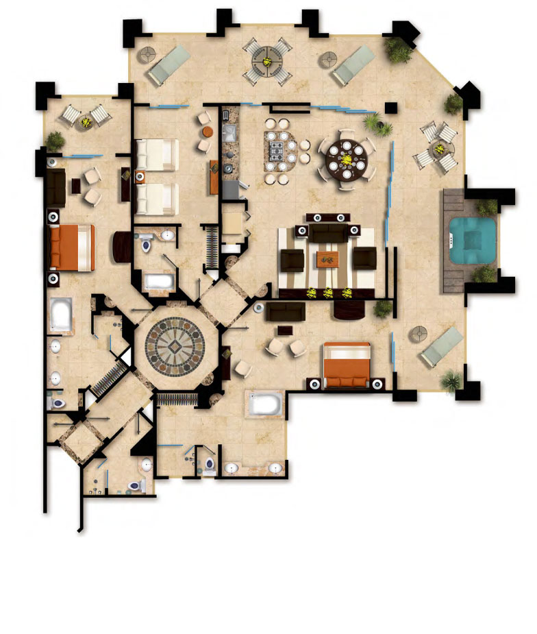 Floor Plan Three Bedroom Oceanfront Villa del Palmar Cancun