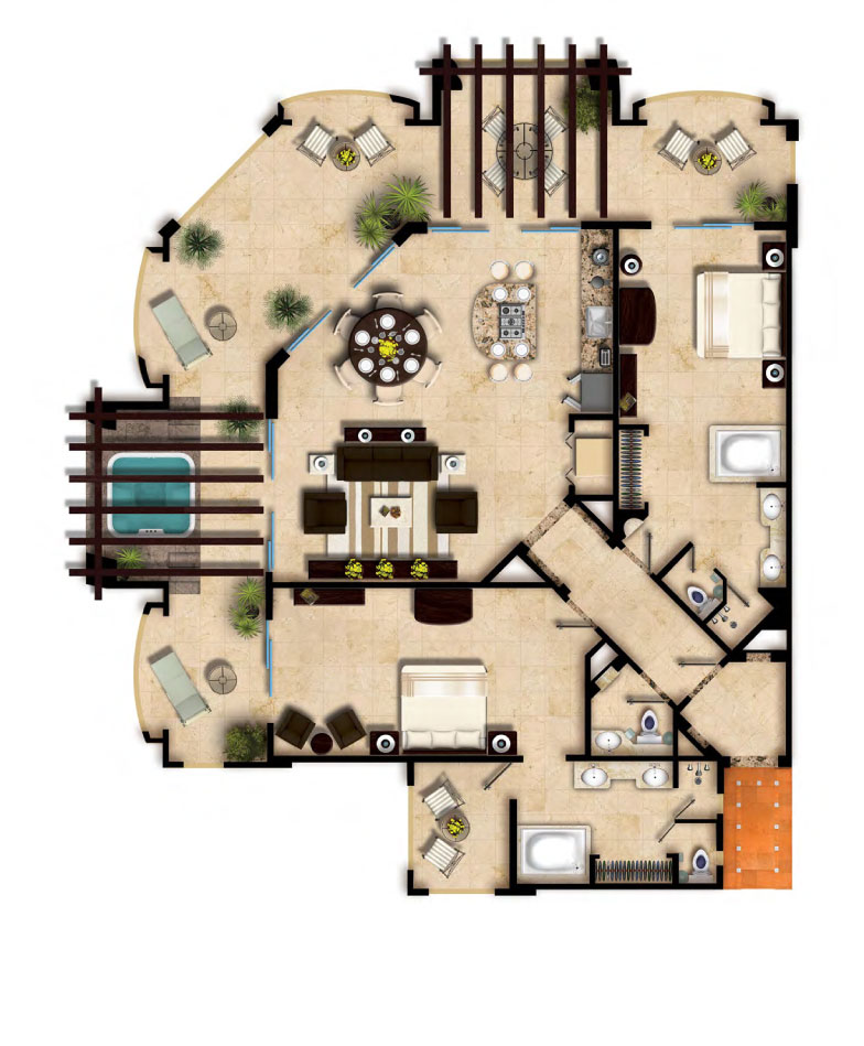Floor Plan Two Bedroom Oceanfront Villa del Palmar Cancun