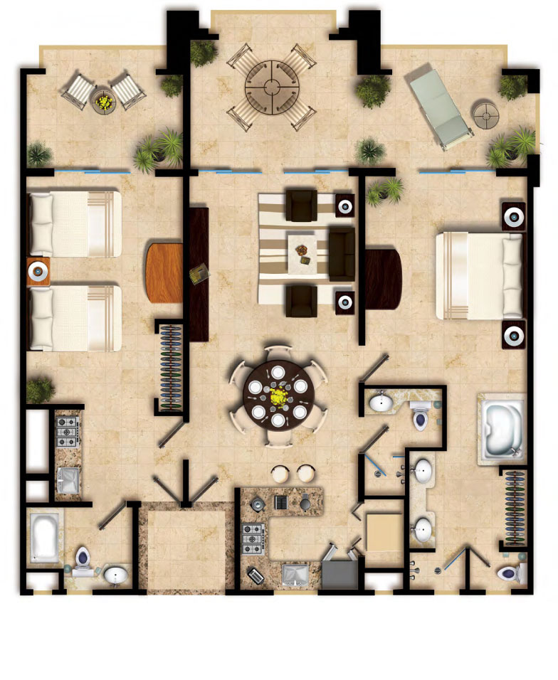 Two Bedroom Suite Villa Del Palmar Cancun